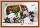 Basket Of Victorian Lilacs Cross Stitch Pattern