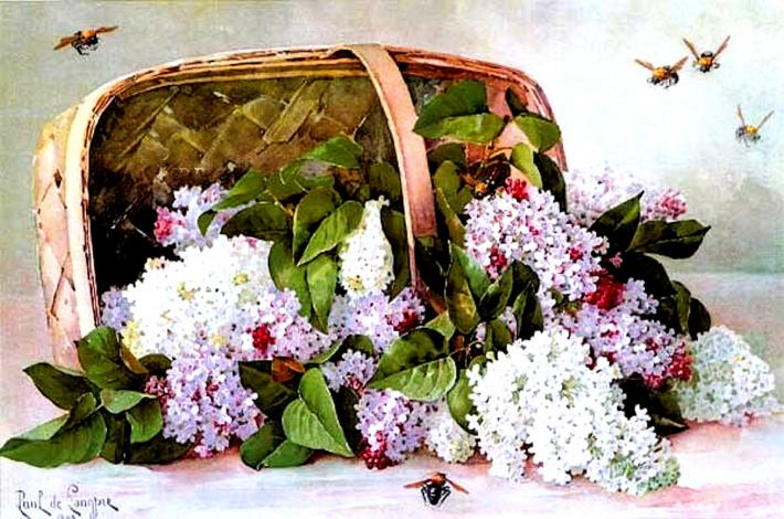 Basket Of Victorian Lilacs Cross Stitch Pattern