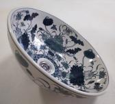 Blue water lotus hand painted porcelain wash basin POST FREE
