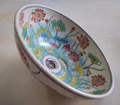 Red water lotus hand painted wash basin floral wash basin porcelain flower sink POST FREE