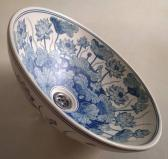 Blue water lotus hand painted porcelain wash basin FREE POST