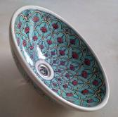 Red floral hand painted porcelain wash basin FREE POST