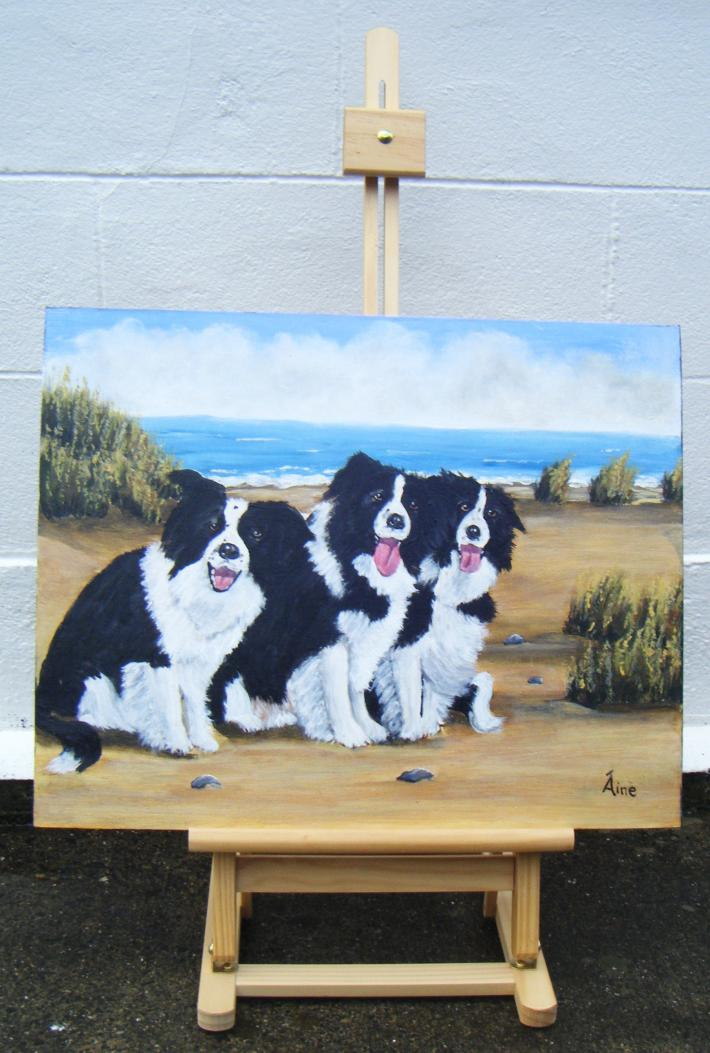 Original Painting Collies at the Beach