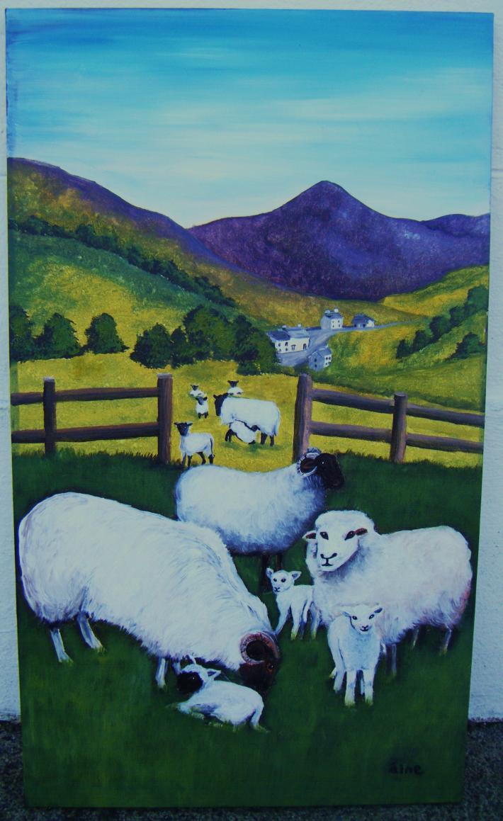 Original Irish Art  Ewes and Lambs
