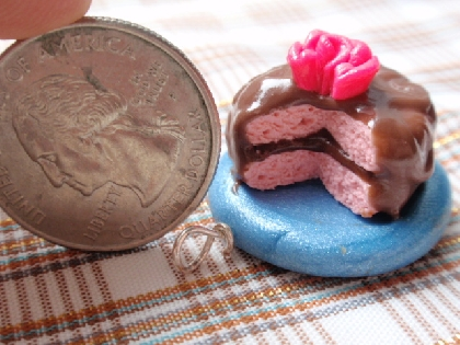 Chocolate Frosted Pink Cake Pendant