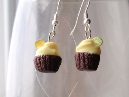 Chocolate Cupcakes with Yellow Frosting Earrings