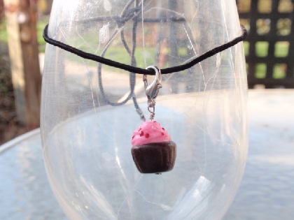 Pink Frosted Chocolate Cupcake Pendan