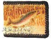 Mens leather wallet trout fishing scene