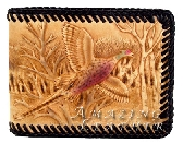 Leather wallet mens pheasant hunting