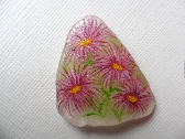 Purple daisy miniature painting on smooth shard of Scottish sea glass