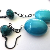 Blue and Black Chain Earrings