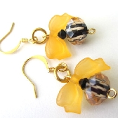 Zebra Crystal and Yellow Bow Earrings