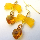 Swarovski Amber Hearts Earrings