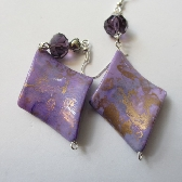 Lavender and Gold Swirl Earrings