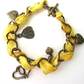 Yellow Ribbon and Chain Charm Bracelet