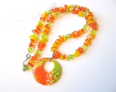 Orange Yellow and Green Shell Necklace