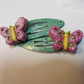 Pink Butterfly Sparkly Hair Clips