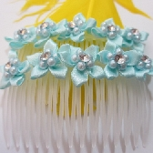 Light Blue Ribbon Flower Hair Combs