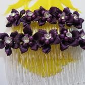Purple Ribbon Flower Hair Combs