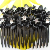 Black Ribbon Flower Hair Combs