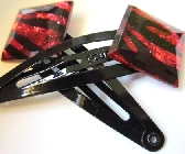 Red and Black Zebra Striped Hairclips