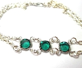 Tri Stone Emerald Green Stone Bracelet