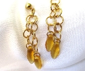 Amber and Gold Dangle Earrings