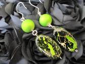 Lime Green Splattered Earrings