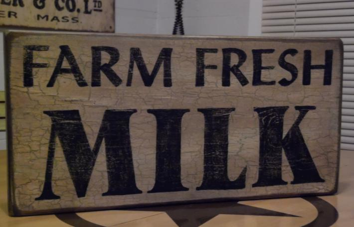 Farm Fresh Milk   Primitive Sign Crackle Painted Sign  Kitchen Decor  Farm house decor  Shabby Chic Sign   Rustic Sign
