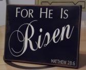 Primitive Sign For He is Risen  Vintage Distressed Wood Sign   Primitive Easter Decor