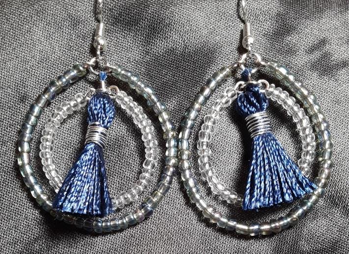 Iridescent Grey and Navy Blue Double Hoops