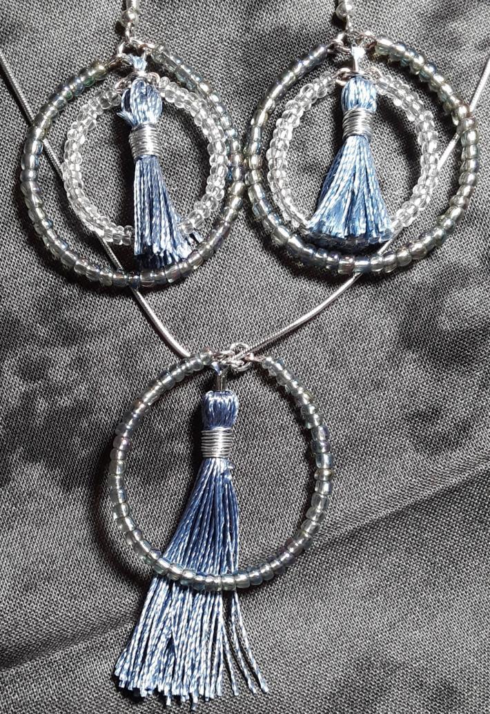 Iridescent grey white and cornflower blue set