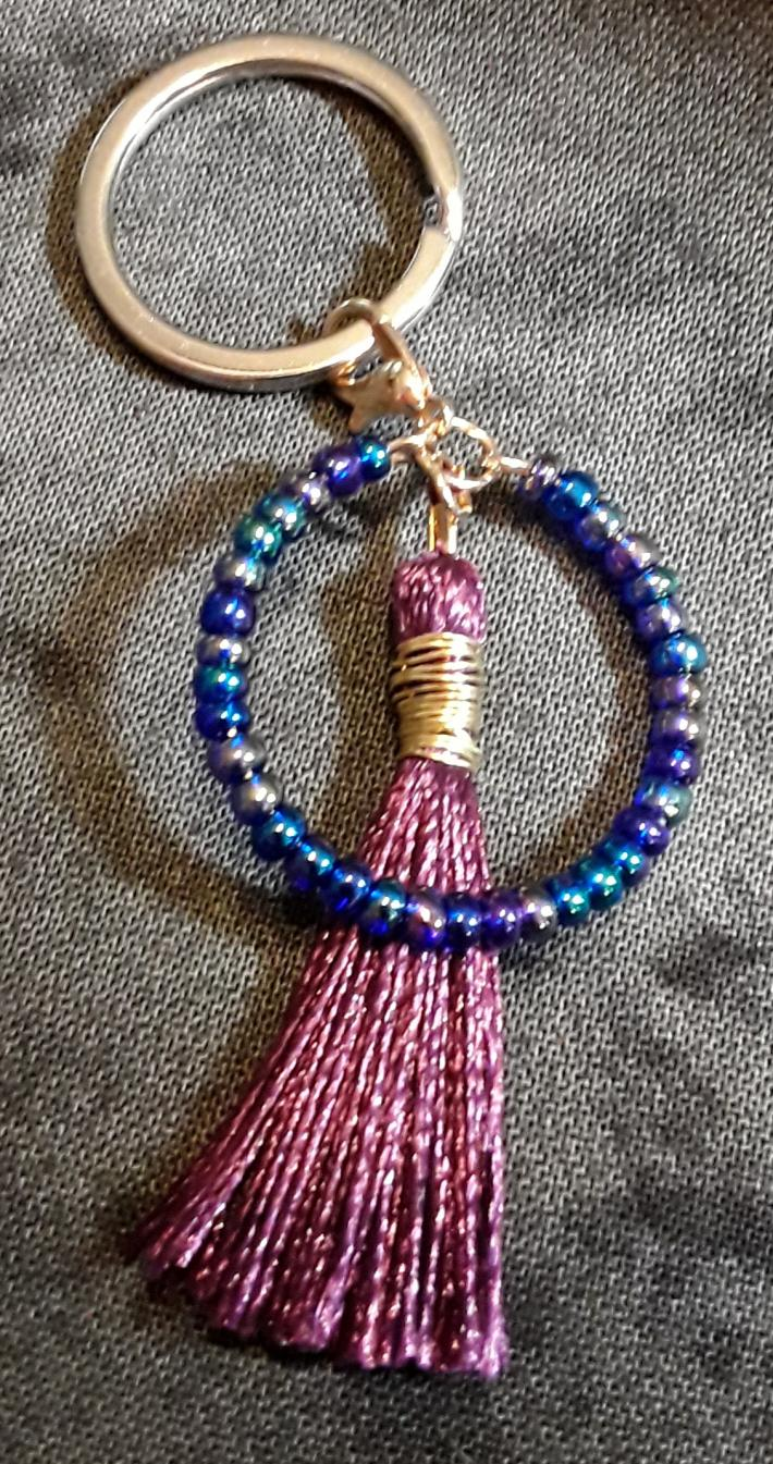 Iridescent and Purple Keychain