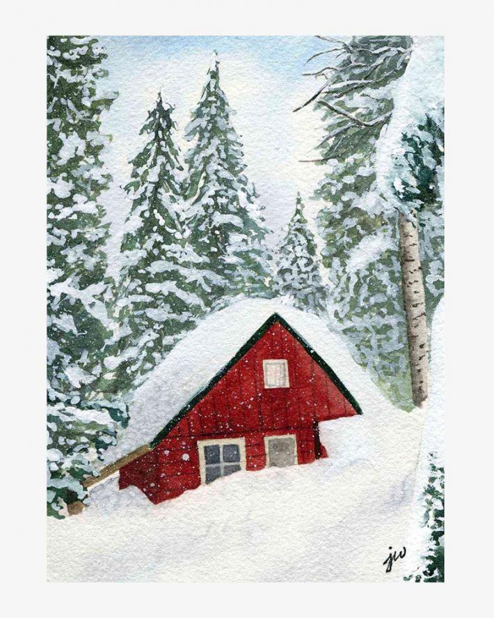 Snowy Cabin Print