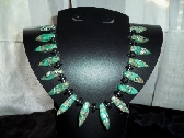Turquoise n Hematite Fan Necklace