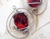Red Paua Shell Earrings in Sterling Silver
