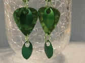 Chainmaille Scale and green Guitar Pick Earrings
