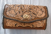 Custom Leather Tooled Clutch Purse