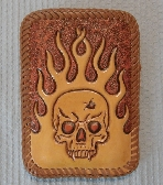 Flames and Skull Leather Iphone slip in case