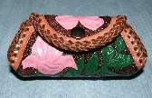 Carved Leather Coin Purse with Flower Design