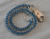 Blue Anodized Aluminum Chainmail Biker Wallet Chain