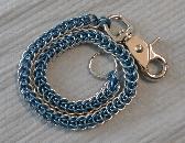 Blue Anodized Aluminum Chainmail Biker Wallet Chain