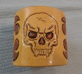 Skull and Flames Carved Leather Bracelet