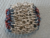 Red and Blue Chainmaille Hacky Sack or Footbag
