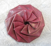 Dark Red Leather Pinwheel coin pouch