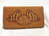 Carved Tribal Rose Leather Checkbook