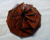 Brown Leather Pinwheel coin pouch
