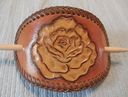 Rose Barrette Hand Tooled Leather