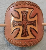 Hand Tooled Leather Barrette with Maltese Cross