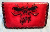 Red Custom Skull tooled on a Biker style wallet